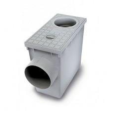 Дощоприймач з горизонтальним виходом і сифоном для відведення дощової води