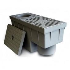 Дощоприймач з вертикальним виходом і сифоном для відведення дощової води