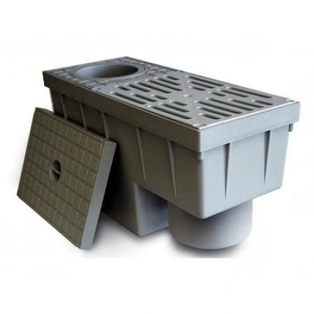 Дождеприемник с вертикальным выходом и сифоном для отвода дождевой воды
