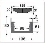 Канал водосборный с решеткой из композита 80*136*1000, для проезжих зон
