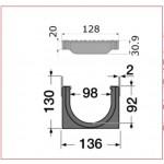 Канал водосборный с полиамидной решеткой 130*136*1000, для обочин и автостоянок