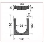 Канал водосборный с решеткой из композита 170*136*1000, для проезжих зон