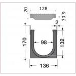 Канал водосборный с полиамидной решеткой 170*136*1000, для обочин и автостоянок