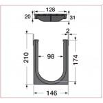 Канал водосборный с решеткой из композита 210*136*1000, для проезжих зон