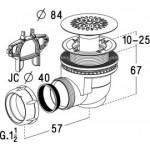 Сифон для душевого поддона с решеткой из нержавеющей стали со сливом D 60 мм