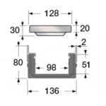 Канал водосборный 80*136*1000 со стальной решеткой для отвода дождевой воды и стока