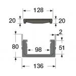 Канал водосборный 80*136*1000 с чугунной решеткой и вставкой из стали для сбора дождевой воды и стока