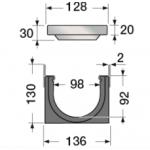 Канал водосборный 130*136*1000 со стальной решеткой для отвода дождевой воды и стока