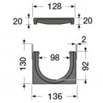 Канал водосборный 130*136*1000 с чугунной решеткой и вставкой из стали для сбора дождевой воды и стока