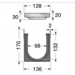 Канал водосборный 170*136*1000 со стальной решеткой для отвода дождевой воды и стока