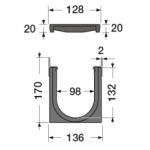 Канал водосборный 170*136*1000 с чугунной решеткой и вставкой из стали для сбора дождевой воды и стока