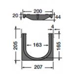 Канал водосборный с чугунной решеткой 205*207*1000 для сбора дождевой воды и стока