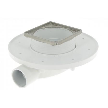 Душевой трап 100*100 без решетки с сухим сифоном для низких плиточных полов с технологией Magnetech