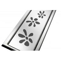 Решётка из нержавеющей стали для душевого канала 70 см, дизайн Цветочки
