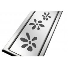 Решітка з нержавіючої сталі для душового каналу 80 см, дизайн Квіточки