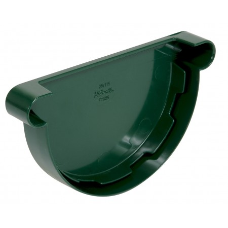 Заглушка желоба универсальная Classic 25 полукруглая зеленая 115мм