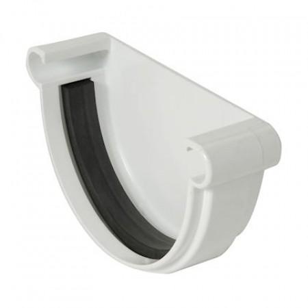 Заглушка желоба универсальная на уплотнителях Classic 25 полукруглая белая 115мм
