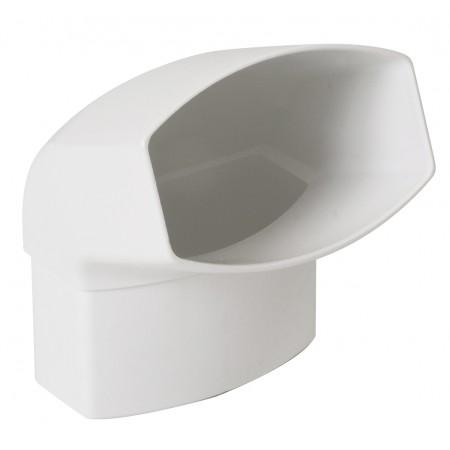Отвод овальной трубы ПВХ 67⁰ белый D105*76