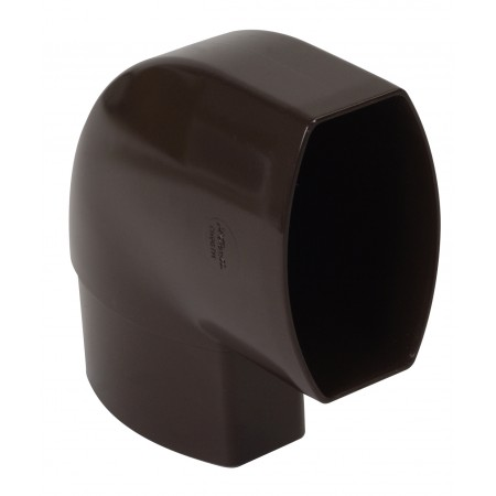 Отвод овальной трубы по плоскости стены ПВХ 87⁰ коричневый D90*56