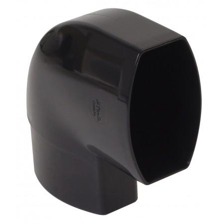 Отвод овальной трубы по плоскости стены ПВХ 87⁰ черный D90*56