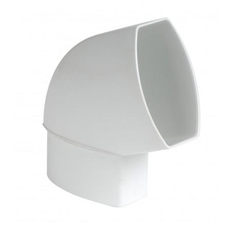 Отвод овальной трубы по плоскости стены ПВХ 67⁰ белый D105*76