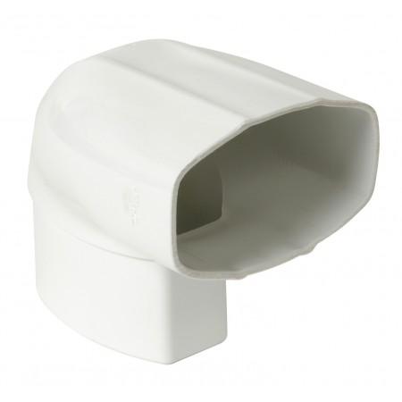 Отвод овальной трубы в двух плоскостях стены ПВХ 87⁰ белый D90*56