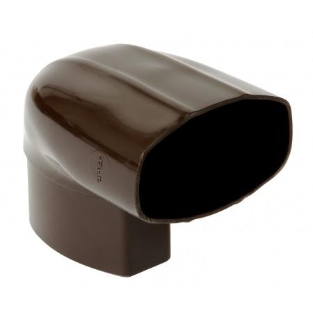 Отвод овальной трубы в двух плоскостях стены ПВХ 87⁰ коричневый D90*56