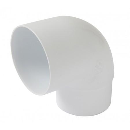 Отвод трубы универсальный ПВХ 87⁰ белый D80