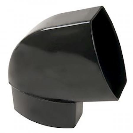 Отвод овальной трубы по плоскости стены ПВХ 67⁰ черный D105*76