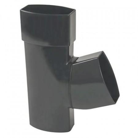 Тройник овальной трубы ПВХ 67⁰ темно-серый D90*56