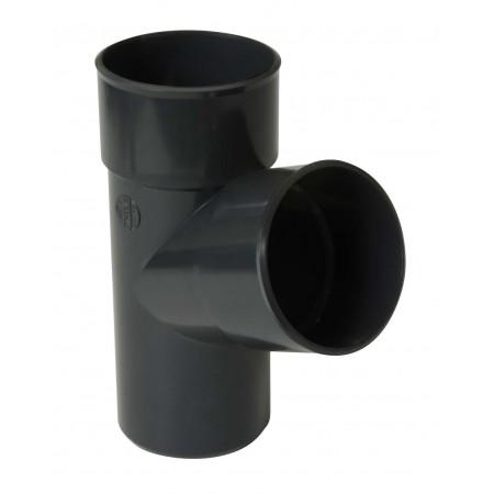 Тройник круглой трубы ПВХ 67⁰ темно-серый D80