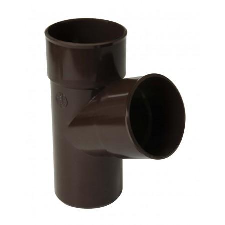 Тройник круглой трубы ПВХ 67⁰ коричневый D80